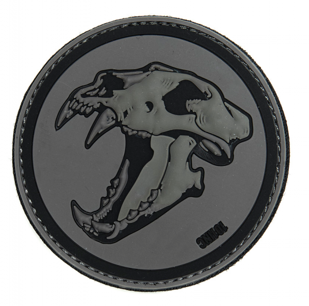 101 INC SABERTOOTH TIGER 3D PATCH GREY