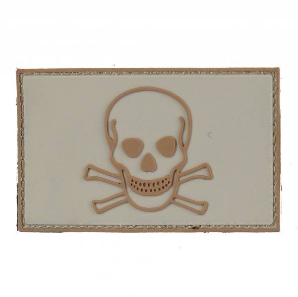 101 INC SKULL & BONES PVC PATCH TAN